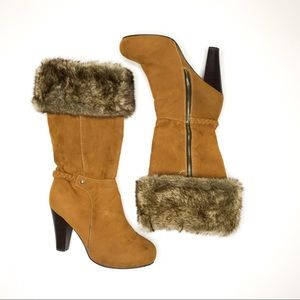 Faux Fur Tall Heel Cushion Walk Boots Size 7.5